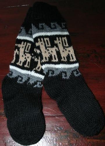 Black Organic Fair Trade Alpaca Llama Wool Knit Socks ...