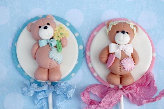 Little Cute Teddy Bear Couple Cake Topper Pick - Fondant Childeren Birthday, Wedding Decoration, Baby Shower Cupcake Topper