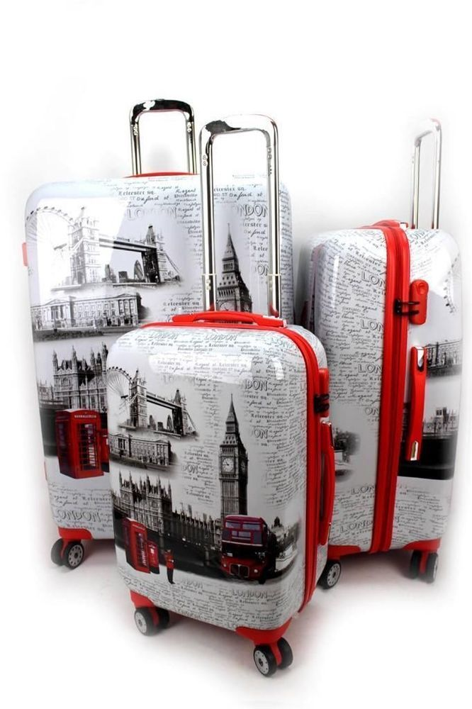 LONDON LUGGAGE - UJ SOUVENIRS 4 WHEEL SPINNER TRAVEL HARD CASE - FULL SET OF 3