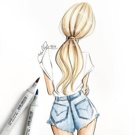 The perfect white tee. Sketched with Copic Markers by Holly Nichols