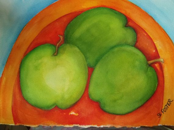 Granny Smith Apples Orange Plate  Blue by SharonFosterArt on Etsy, $40.00