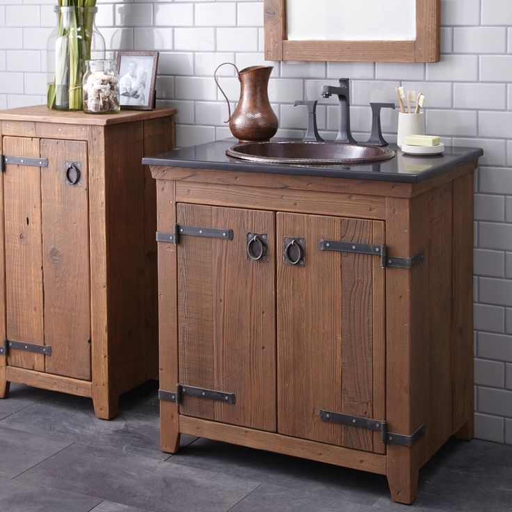 Gallery Website Americana Vanity Cabinet and Small Mirror Chestnut finish traditional bathroom vanities and sink consoles san luis obispo Native Trails