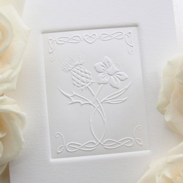 16 best celtic nations wedding invitation designs images on thistle and daffodil wedding invitation joining the national flowers of scotland and wales each card is individually embossed into an acid free stopboris Choice Image