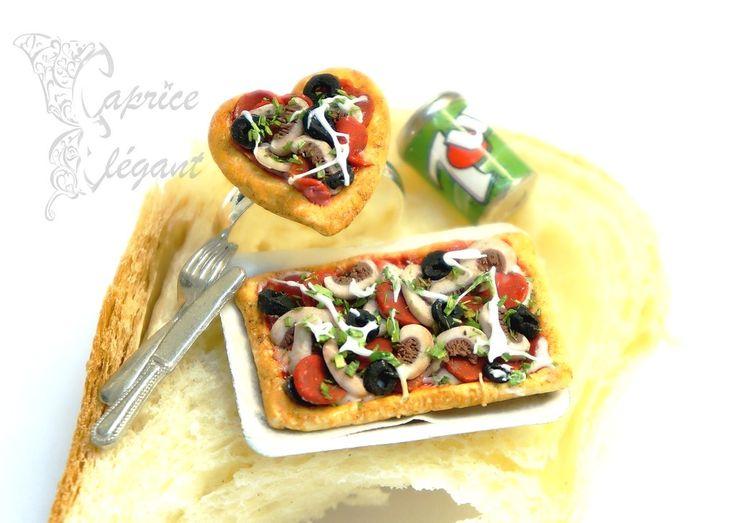 Miniature Food Pizza en pâte polymère par Tania Villard Hirsig
