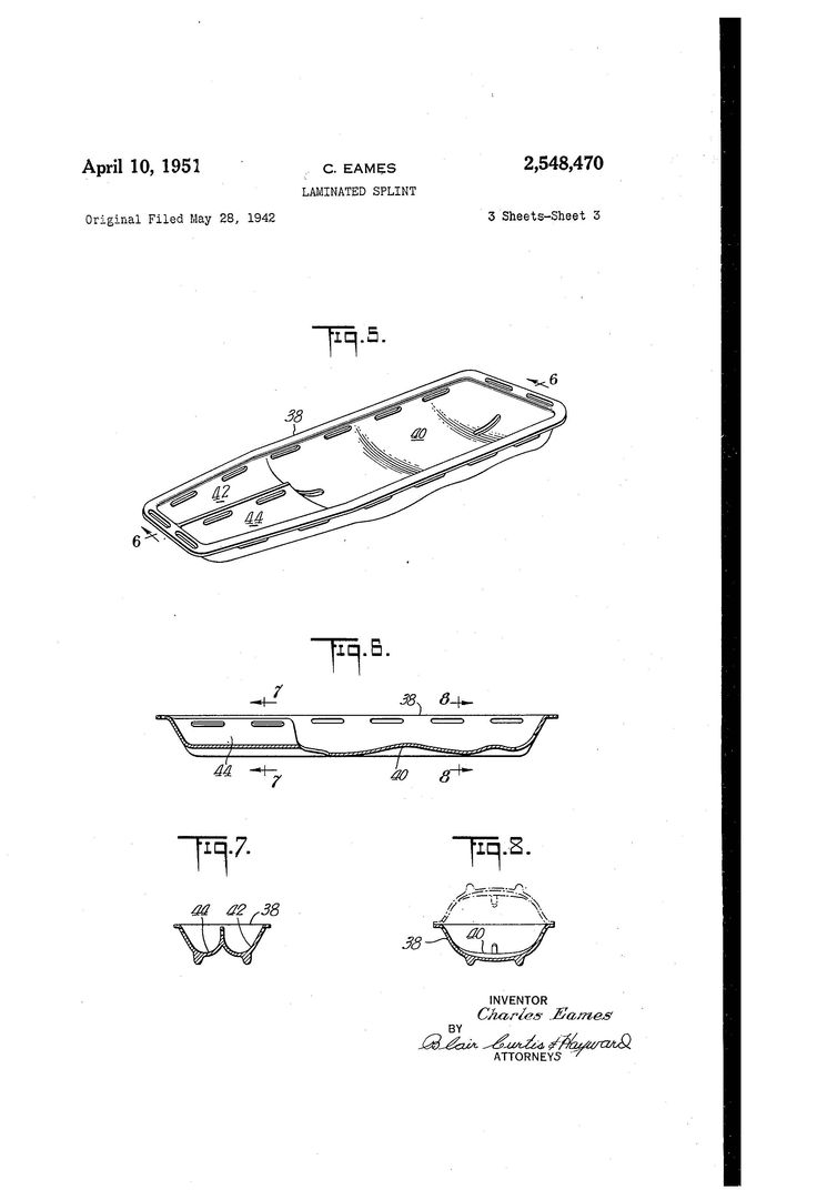 Eames molded plywood stretcher patent drawings
