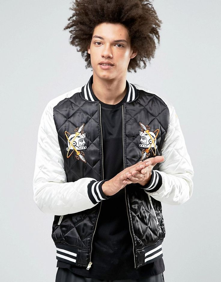Get this Billionaire Boys Club's quilted jacket now! Click for more details. Worldwide shipping. Billionaire Boys Club Vegas Souvenir Jacket in Quilted Satin - Black: Jacket by Billionaire Boys Club, Quilted satin fabric, Baseball collar, Zip fastening, Patch detail to front, Functional pockets, Printed detail to reverse, Ribbed cuffs and hem, Regular fit - true to size, Machine wash, 100% Polyester, Our model wears a size Medium and is 189cm/6'2.5 tall.  (chaqueta acolchada, padded…