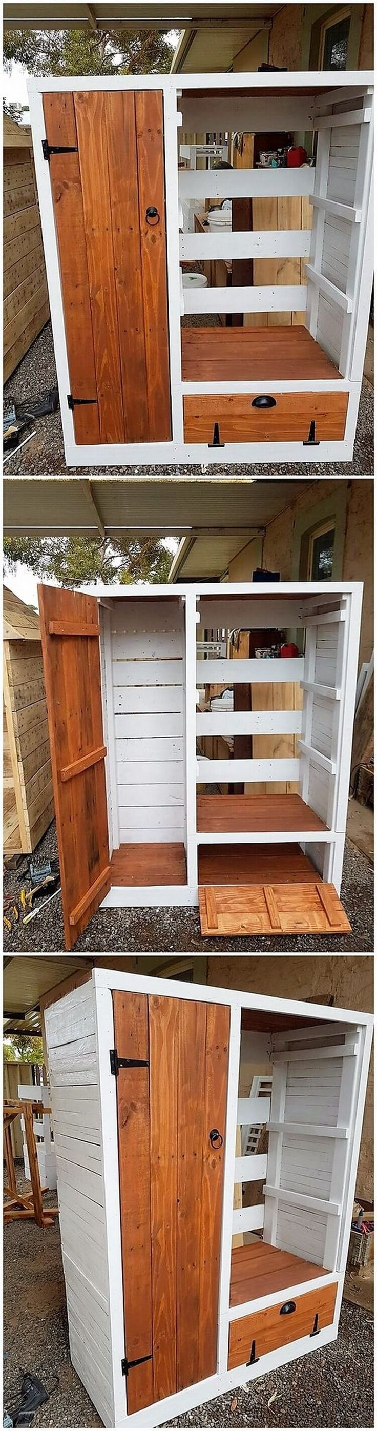 Pallet Laundry Table with Cabinet