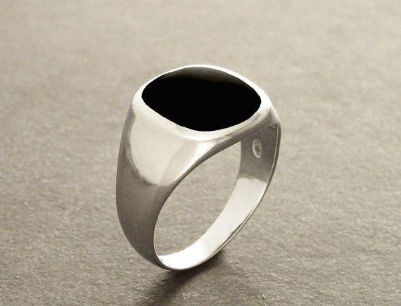 Hipster Ring Black Onyx Ring Silver 925 Modern Men por KRAMIKE