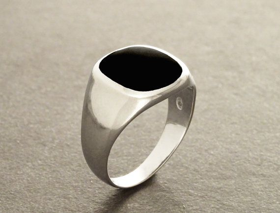 Hipster Ring Black Onyx Ring Silver 925 Modern Men by KRAMIKE