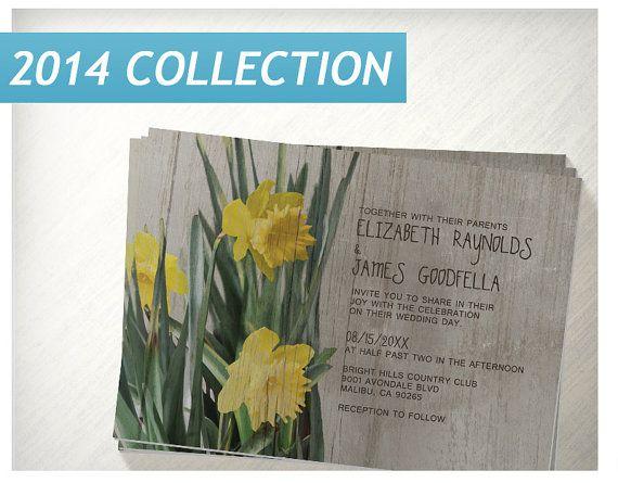 Rustic Daffodils Wedding Invitations