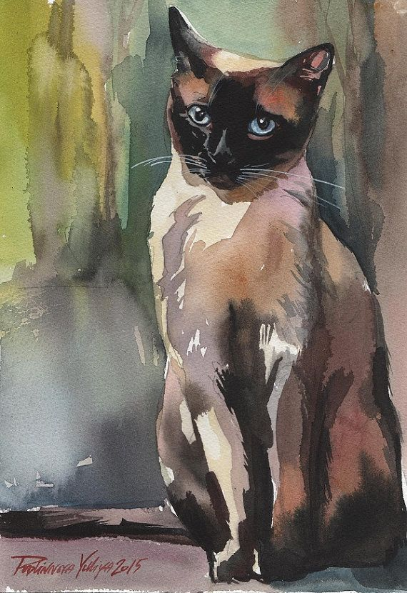 Original Watercolor Painting Cat Siamese Brown by creativeartistic