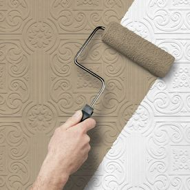 Paintable Wallpaper from Lowe's ...to create a vintage tiled ceiling or backsplash. *Kim's note: This is what we used to cover our wood panelled walls then painted them. MUCH easier than putting up new drywall. olivia said- this would be cool to do on a ceiling for a vintage look <3
