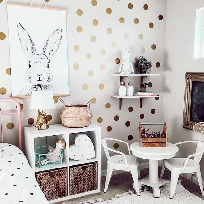 Project Nursery - Big Girl's Room with Gold Dot Decals and Bunny Print