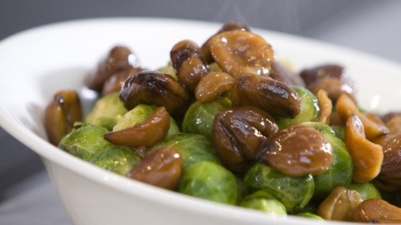 Brussels Sprouts with Chestnuts - since I started serving sprouts this way for Christmas, I can never eat them any other way. I love the texture of cooked chestnuts