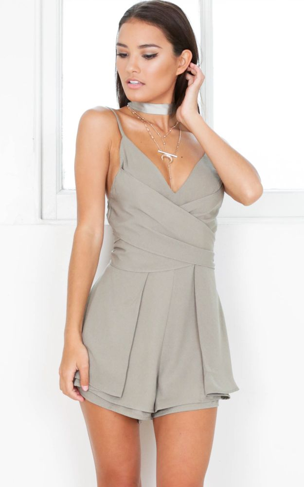 Showpo Staying Neutral playsuit in khaki - 10 (M) Rompers & Jumpsuits