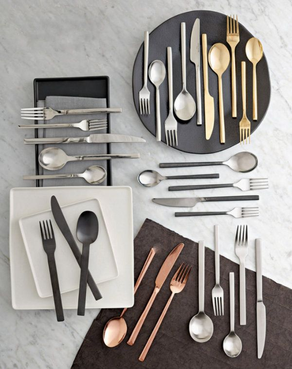 Simple and luxurious flatware finish options. Which one would you choose? The copper would be an interesting addition to a tablescape.
