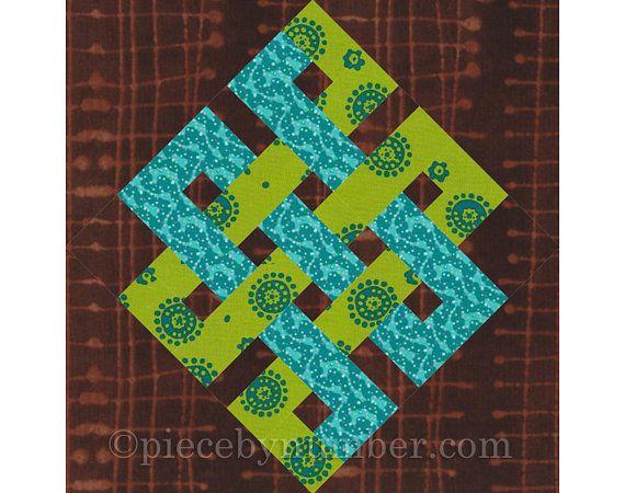 L'éternité noeud rotatif courtepointe coupe rapide bloc motif, PDF, noeud celtique motif, facile de couette modèle, médaillon de courtepointe pour le noeud infini, coupe rotative,