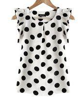 2015 del estilo del verano blusas roupas femininas con volante de gasa mujeres blusa impresa polka dots feminina blusa más tamaño mujeres top
