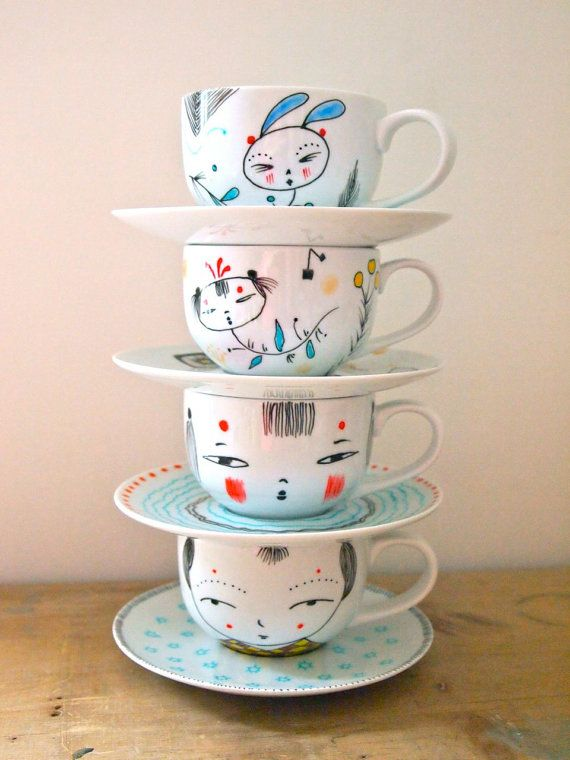 NEW YEAR SALE Hand painted tea cup and saucer by JessQuinnSmallArt, £14.00