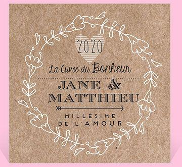 etiquette de bouteille mariage avec des motifs floraux sur un fond kraft rfn300503 - Etiquette Bouteille Champagne Mariage