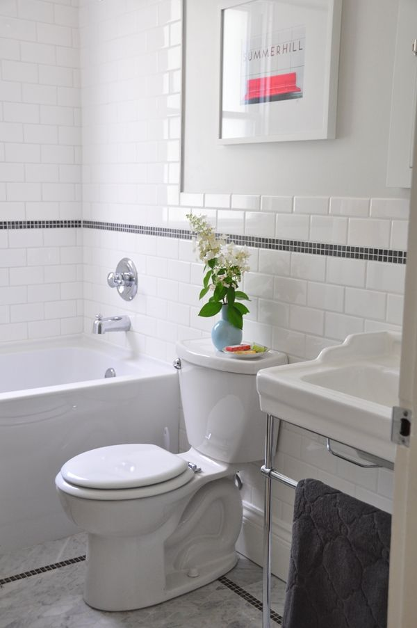 My 1950u0027s style bathroom: white subway tile, marble mosaic floor, console  vanity.