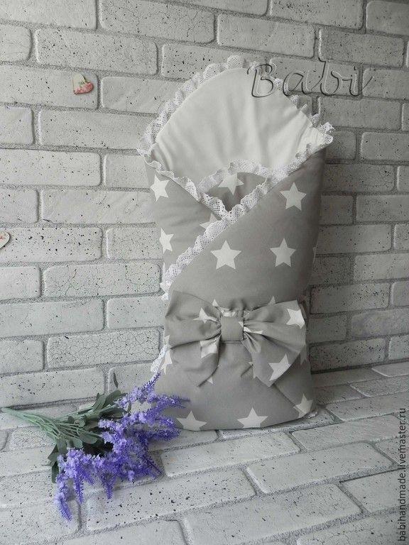 """""""Конверт-одеяло """"White stars"""" - серый, конверт на выписку, одеяло для новорожденного, выписка из роддома"""
