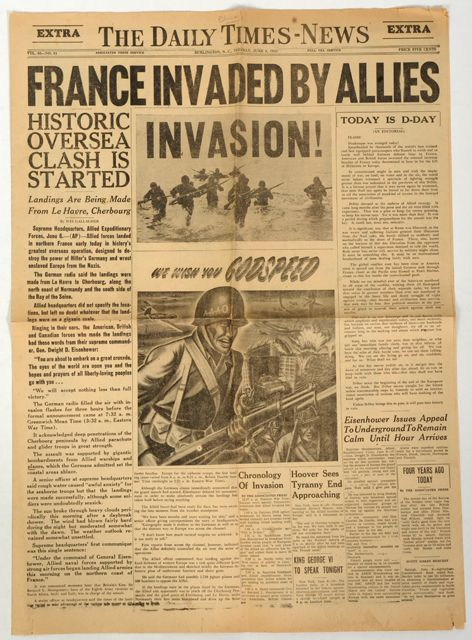 This is the Daily Times-News (what would become the (Times-News) front page on the moring of June 6, 1944 -- D-Day. Our newspaper then broke the story in special Extras probably sold on the street downtown to readers anxious for such huge news from World War II.