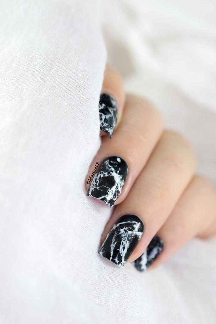 Black Stone Marble Nails Video Tutorial Black Marble Nails