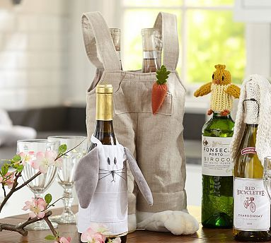 24 best the easter bunnys board images on pinterest kitchens easter wine bottle toppers potterybarn hahaha overalls with big bunny feet as double wine negle Images