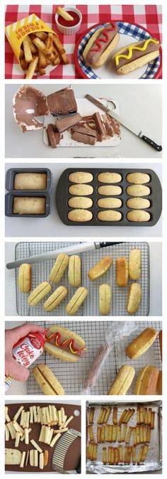 How cute is this! Perfect for a kid's party or a cookout. Chocolate Ice Cream Hot Dogs and Cake Fries