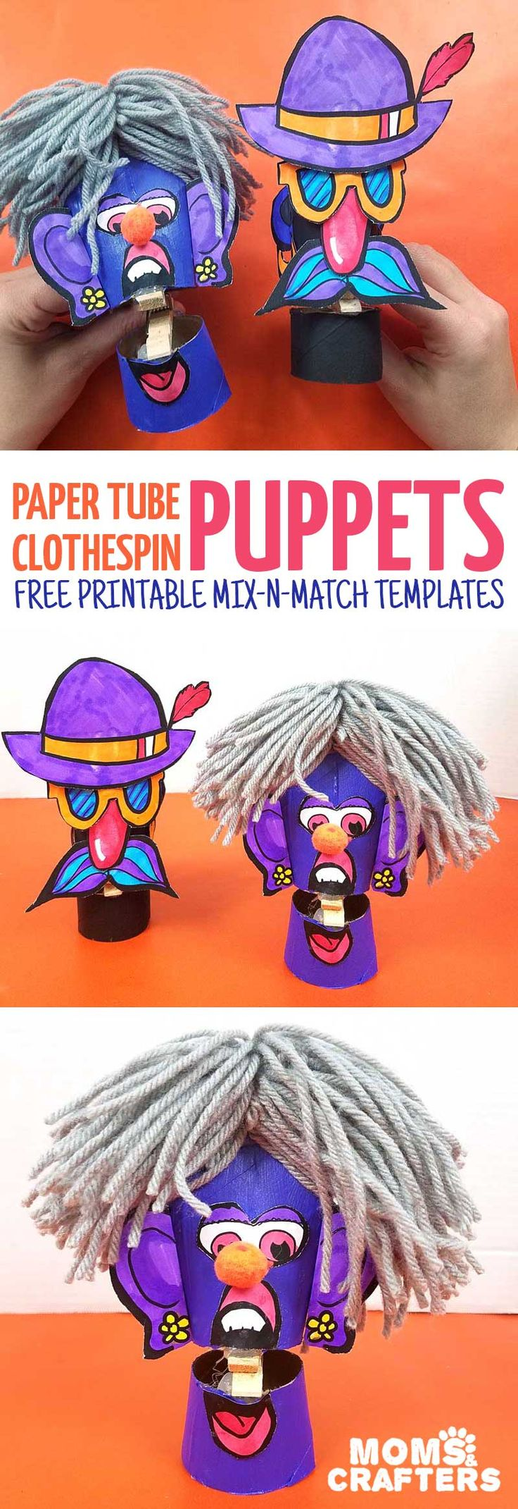 Make these adorable toilet paper roll clothespin puppets using the free paper craft template! It includes loads of mix and match facial featues and accessories and is a fun recycled paper tube arts and crafts project for kids, tweens, teens, and adults. #kidscraft #freeprintable #papercraft