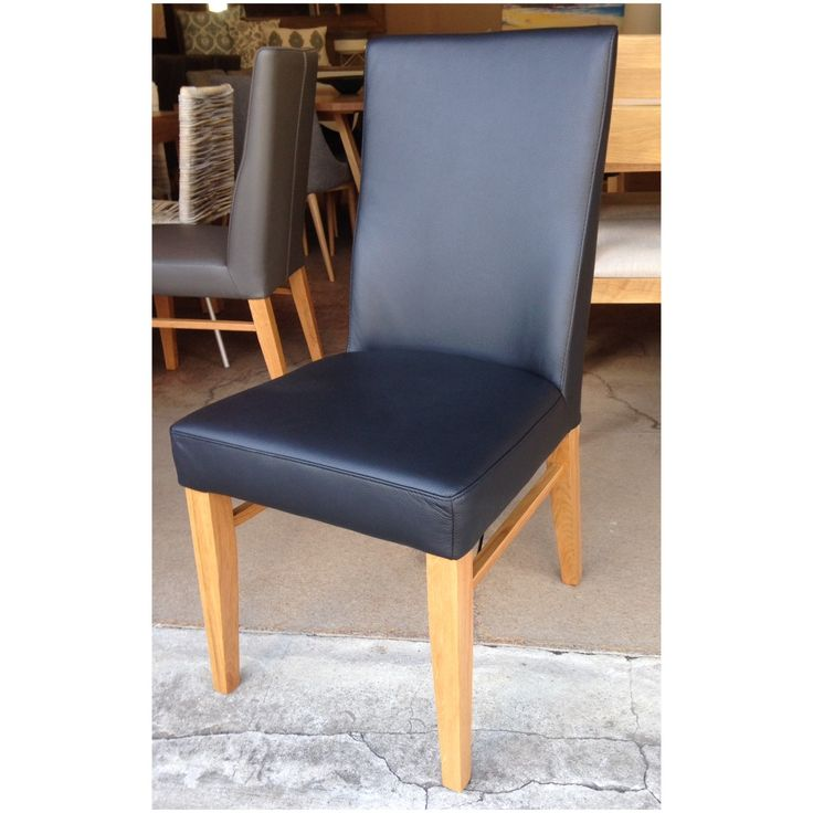Our genuine leather dining chair in 'black' for sale at Wildflower Furniture