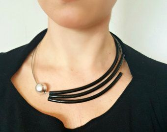 Long statement necklace Leather necklace Modern by PevalekArt