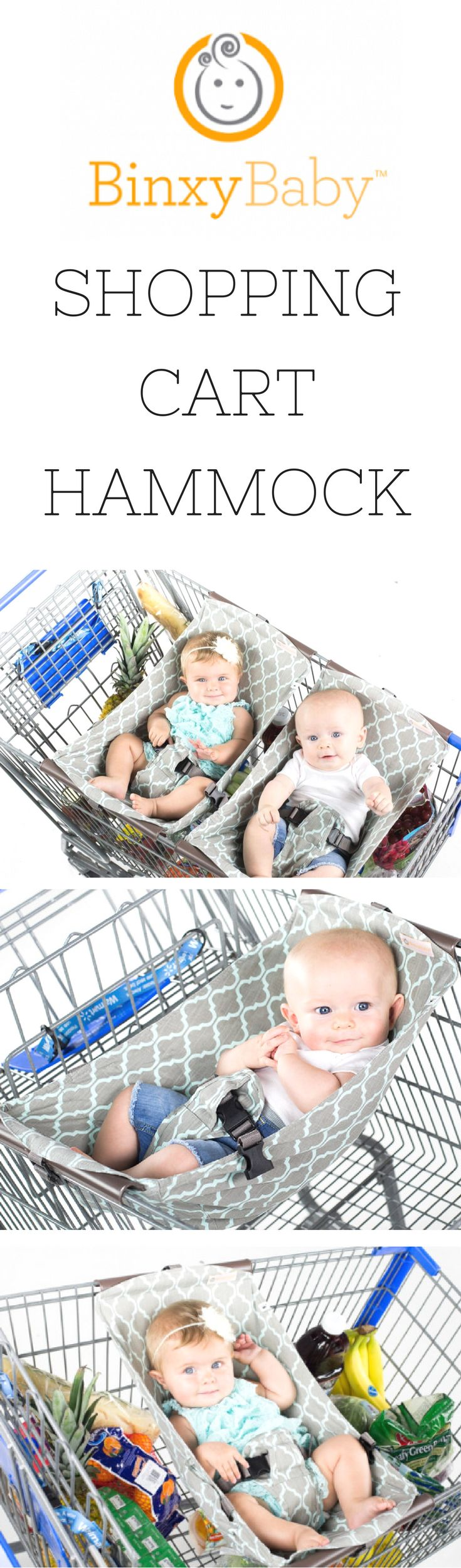 Binxy Shopping Cart Hammock is perfect for little ones (even twins) at the grocery store. A total must have item for parents. There are 4 different patterns @ Fab Baby Gear for $64.99 each.