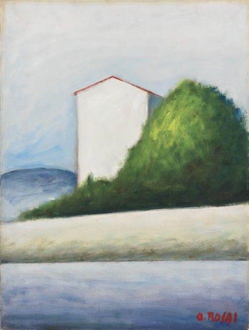 Ottone #Rosai (It., 1895-1957), La casa nuova, vers 1955, huile sur toile, 60,5 x 45,4cm