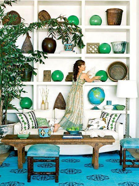 Large glass floats on shelvesDecor, Blue, Livingroom, Colors, Green, Living Room, Glasses Floating, Coastal Living, Rugs