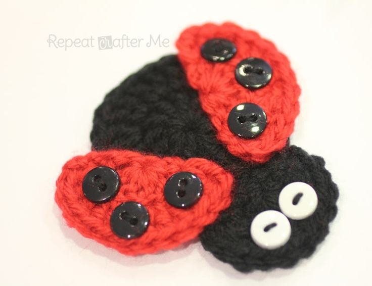 Crochet Ladybug Applique ~ free pattern ~ good idea -make berrer eyes - sequins/?