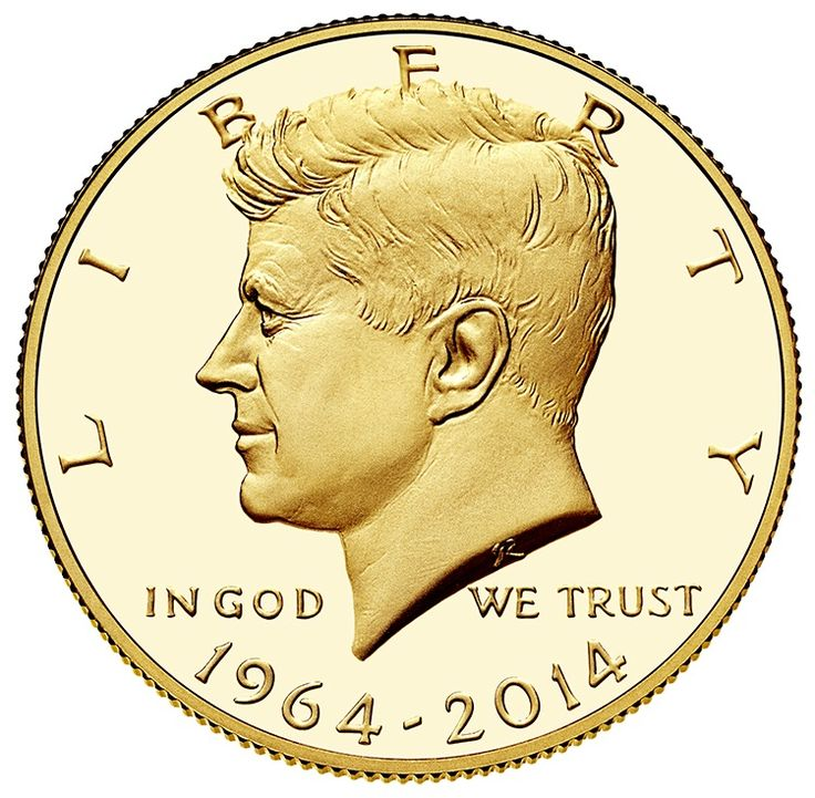 The design on coin's obverse shows a portrait of John Fitzgerald Kennedy, the youngest-ever-elected president. Did you know that United States Mint Sculptor-Engraver Gilroy Roberts based this profile on a portrait prepared for Kennedy's presidential medal?