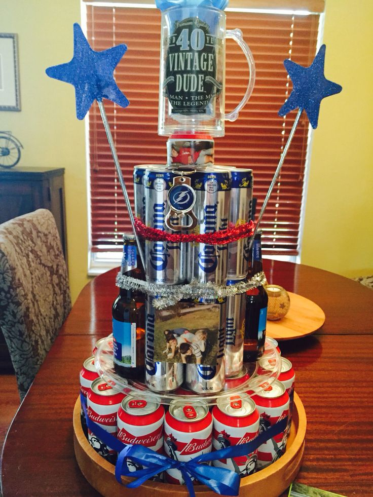 Beer Can Cake Tower 40 Beers For 40 Years Gifts