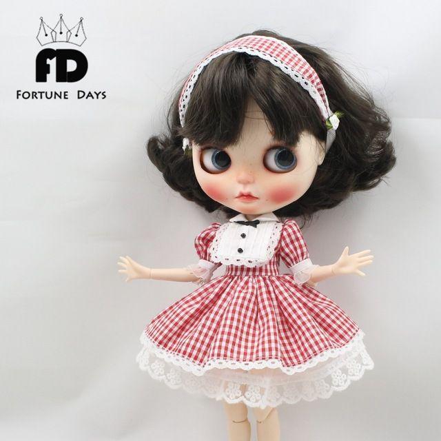 Бесплатная доставка платье красный Плед юбка кружева и головной убор и цветок для блит кукла 1/6 30 см