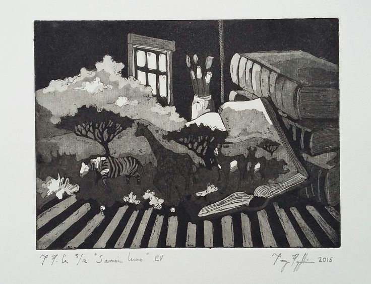 """Fascination of the Safari"", aquitint on paper, 20x15cm, 2015"
