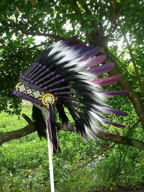 PRICE REDUCED purple Indian style Headdress for kid Native
