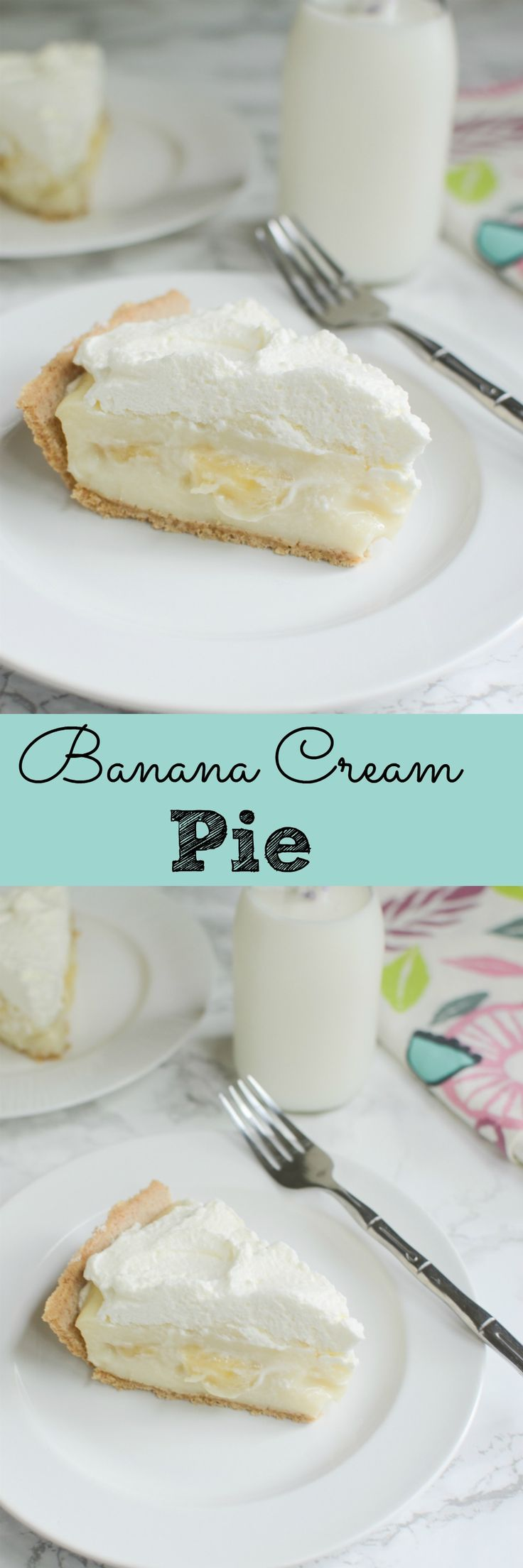 Banana Cream Pie - this no bake pie is the perfect summer dessert! Layers of vanilla custard, sliced bananas, and whipped cream in a graham cracker crust. So delicious!