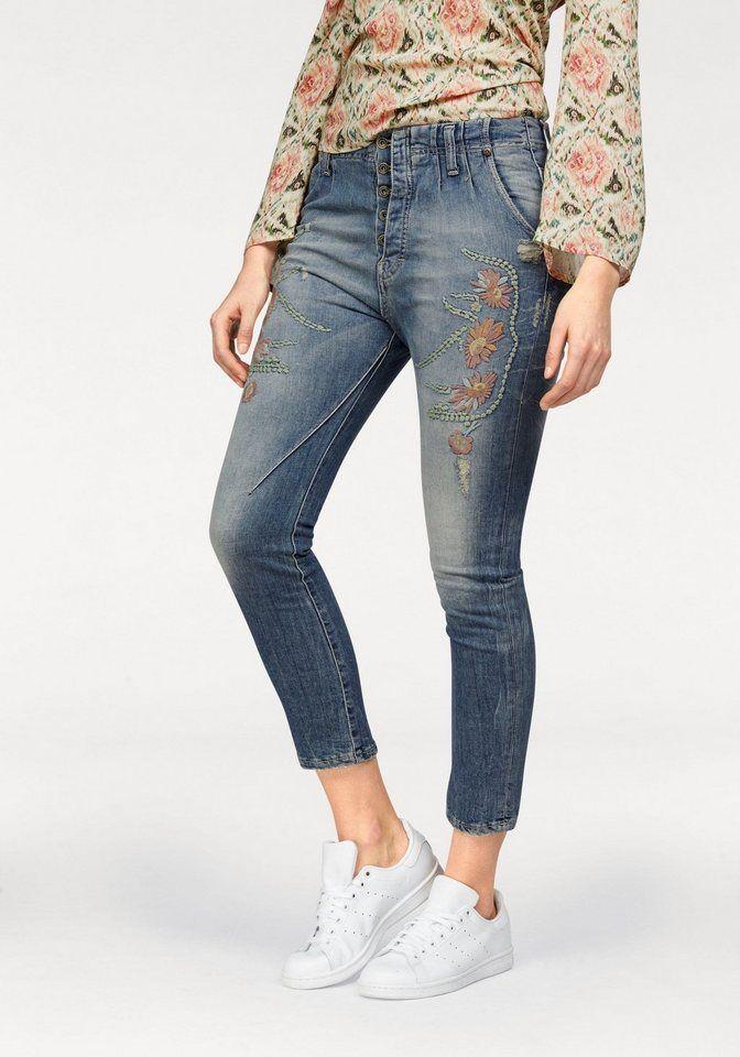 Please Jeans Boyfriend-Jeans »P00R« mit trendiger Stickerei