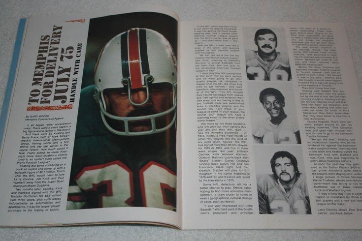 1974 WORLD FOOTBALL LEAGUE Program * Memphis @ Hawaiians * Csonka Kiick Warfield