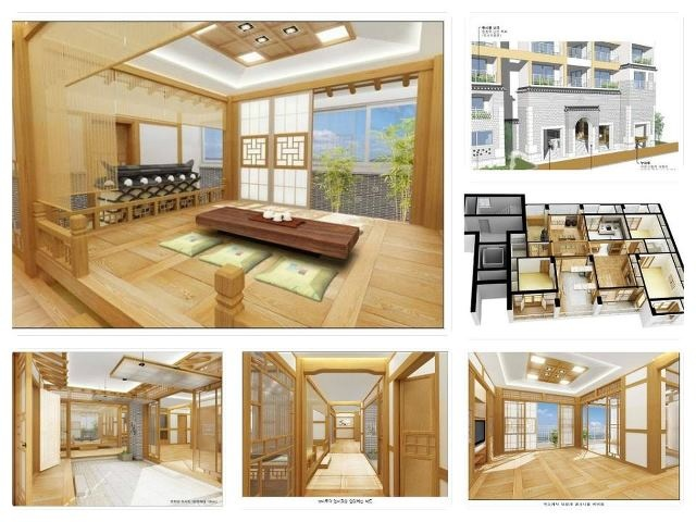 Interiors designed like traditional Korean homes (hanok)