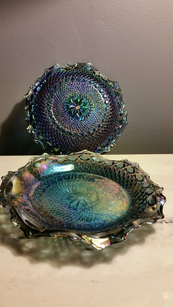Blue Carnival Glass ruffled bowl, diamond point 6 ¾ inch ~ Two Bowls Iridescent
