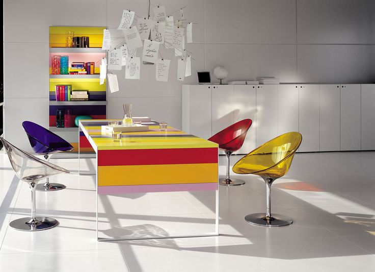 Stripey rainbow table. #office #meeting #table