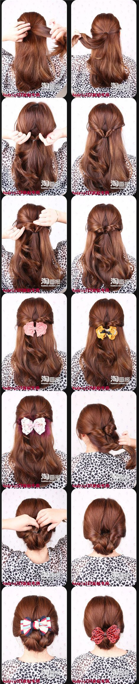 CuteHair Ideas, Korean Hair Style, Hair Tutorials, Long Hairstyles, Korean Hairstyles, Easy Hairstyles With Bows, Pony Tails, Ponies Tail, Double Twists