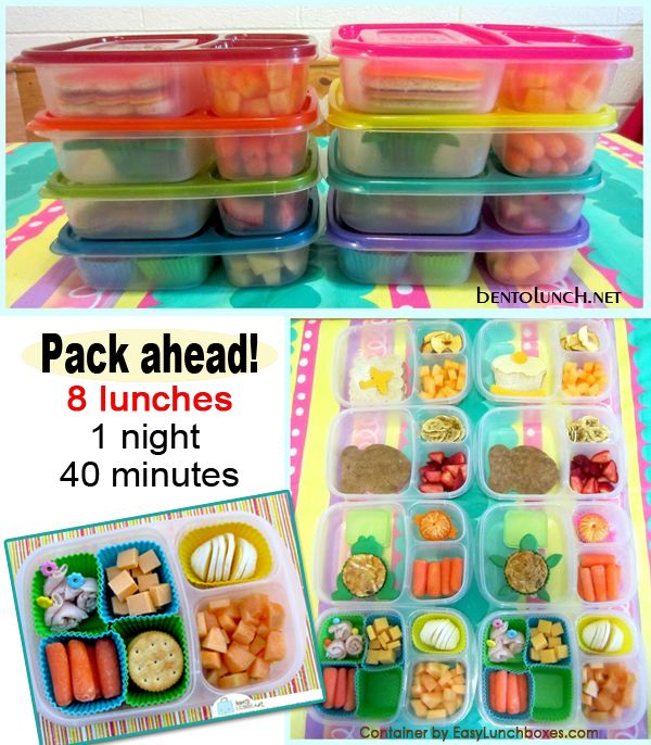 Make lunch for the week – pack ahead and save time...For more ideas for 'Bento Lunches for Kids' visit https://www.facebook.com/SchoolLunchIdeas